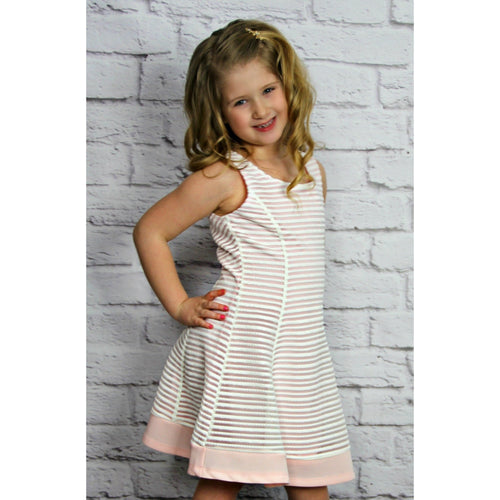Elisa B Pink Stripe Jersey Dress