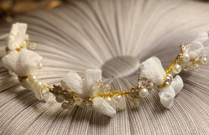 Gold and Ivory Lace Bow Hairband