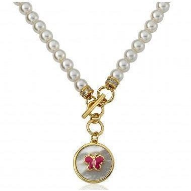 Twin Star Pearl necklace Enamel charm jewelry