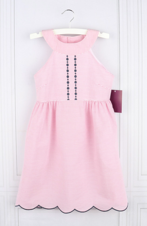 Embroidered Pink Scallop Dress