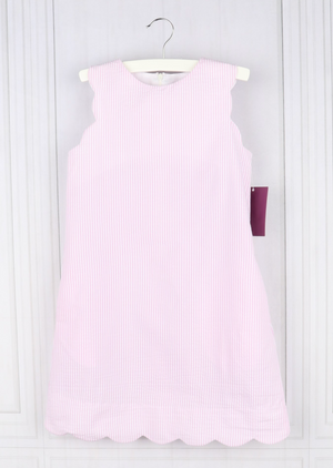 Pink Scallop Shift Dress