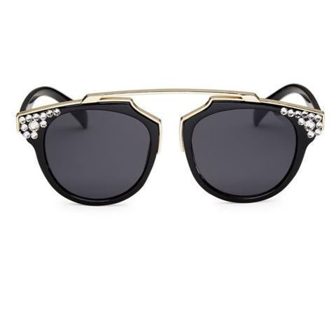Bari Lynn Crystallized Gold Bar Sunglasses