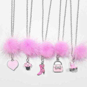 XO Heart Bright Pink Fur Pom Necklaces