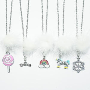 XO Heart White Fur Pom Necklaces