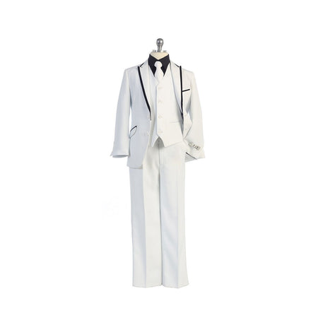 Bijan Kids White/Black Suit