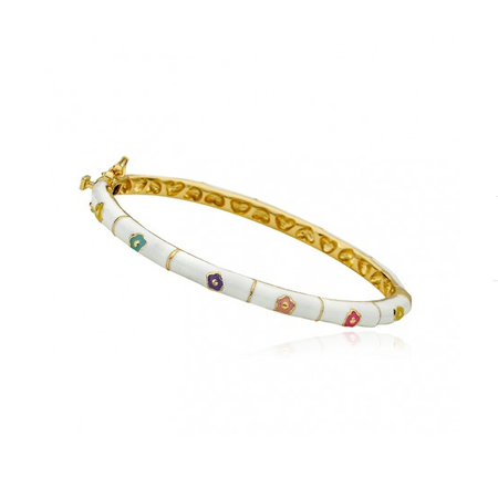 Twin Stars Flower Bangle In White bracelet gold enamel