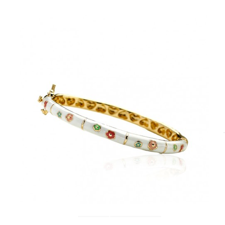 Twin Stars Double Flower Bangle in White/Multi enamel bracelet