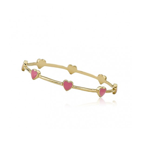 Twin Stars Dainty Hearts Bangle In Hot Pink