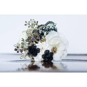 Metallic Lace Clip flower girl black ivory holiday