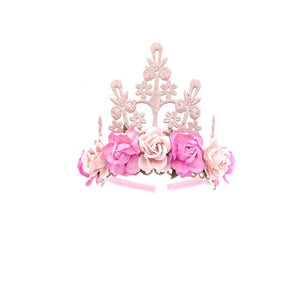 Lace Crown Elle Pink Floral Tiara