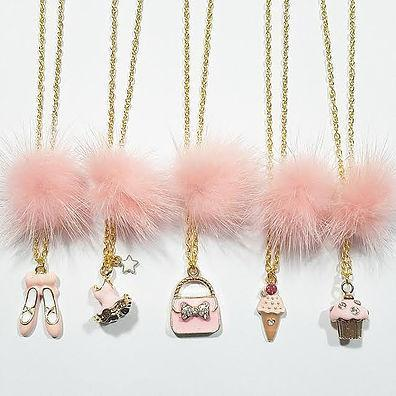 Heart Me Light Pink Fur Pom Necklaces