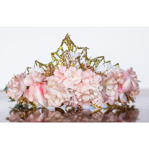 Golden Tiara Flower Halo in Shades of Blush girl floral crown