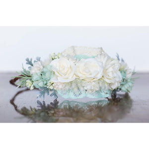 Mint Floral Halo flower crown ivory wedding