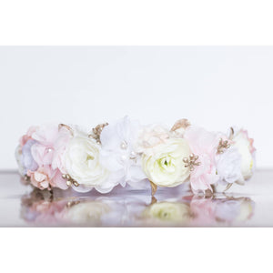 Delicate Blooms Halo wedding flower crown crystals rose gold