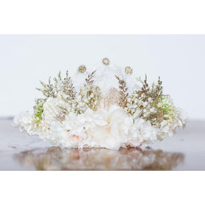 Glittering Ivory Floral Halo flower crown