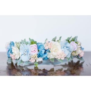 colorful baby blue light floral flower halo crown