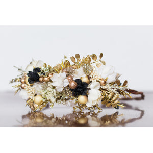 Gilded Floral Halo gold flower crown ivory