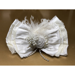 "Large 6"" raw silk pearls lace bow ivory clip"