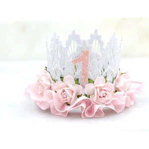 "Lace Crown Glitter ""1"" White"