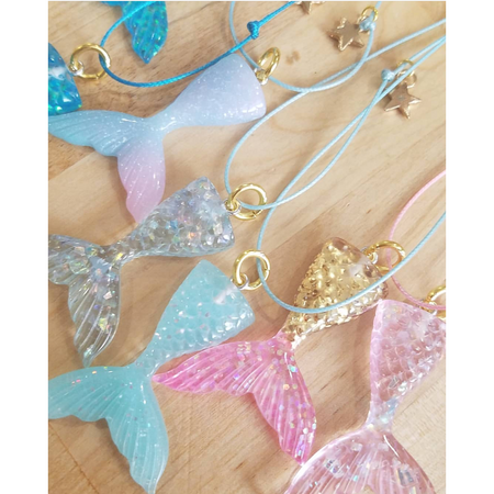 Heart Me Mermaid Tail Necklace glitter sparkles