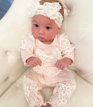 Pink and Ivory Layette Set