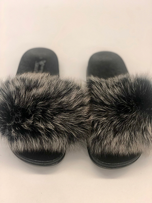 Black Snow Top Furry Slides