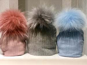Maniere Ribbed Baby Beanie with Pom