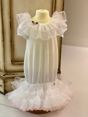Laura Dare Frilly Sacque in White Gown