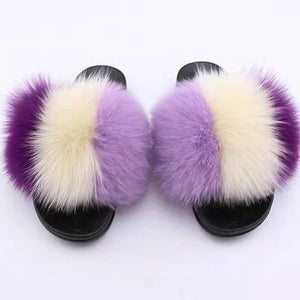 Furry Purple Ombré Slides