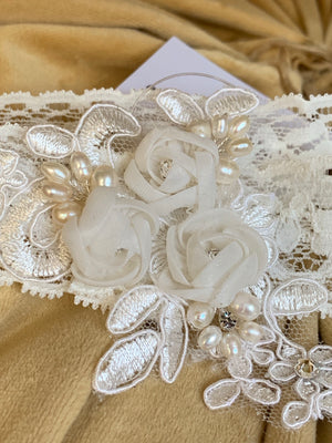 Dainty Lace and Pearl Headband
