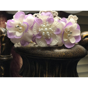 Lilac and Ivory Flower Headband