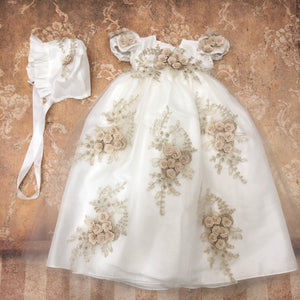 Ivory Gold Christening Gown and Bonnet
