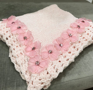 Pink Chenelle Blanket with Flower and Jewel