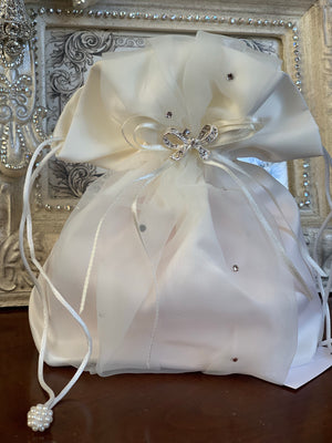 Satin Pouch in Ivory or White