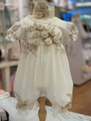 Ivory Gold Romper and Headband