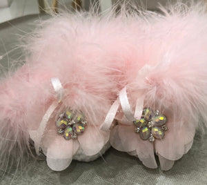 White Chenelle Booties with Marabou