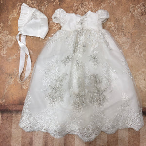 Ivory Christening Gown and Bonnet