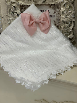 Antique White Blanket with Bow