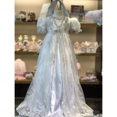 Silver appliqué christening gown