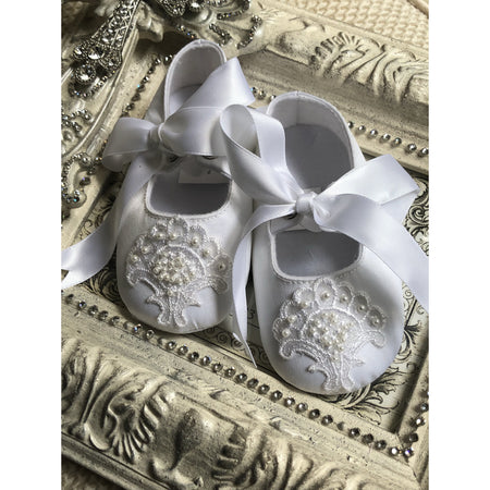 Custom Lace + Pearl Crib Shoes