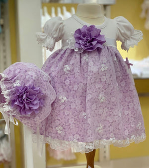 Katie Rose Aria Floral Dress and Bonnet Set