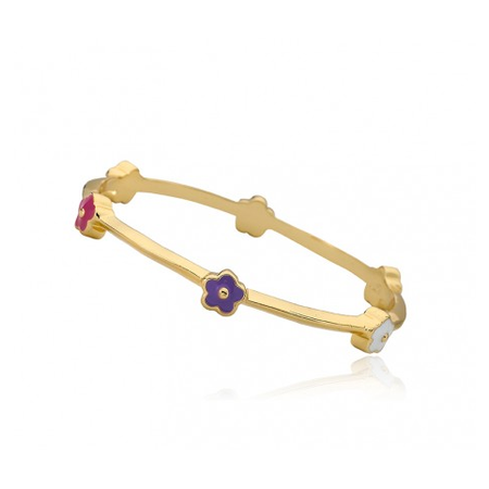 Twin Stars Dainty Flowers Bangle In Pink gold bracelet