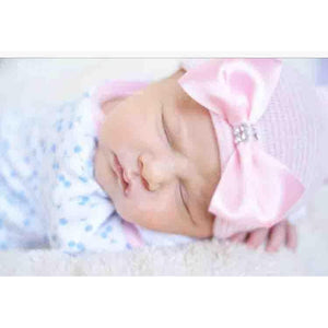 Cradle Cuties Satin & Crystal Bow Hat Newborn