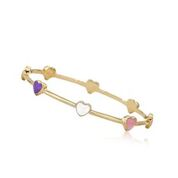 Twin Stars Dainty Flowers Bangle Baby bracelet Gold