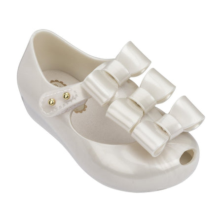 Mini Melissa Triple Bow in Pearl