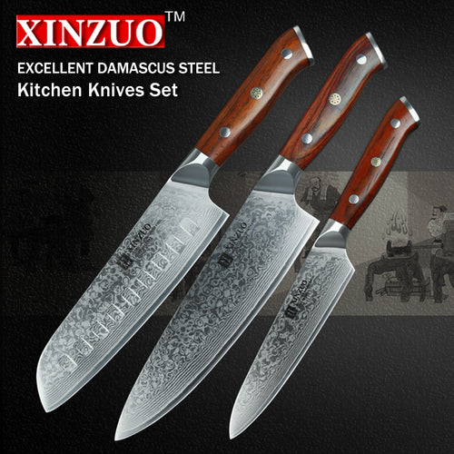 3 pcs Kitchen Knife Set Damascus Steel Gyuto- Chef- Utility, Rosewood Handle