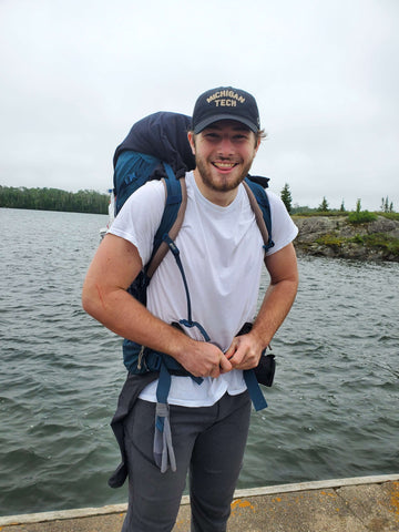 Young Man Backpacking Isle Royale National Park
