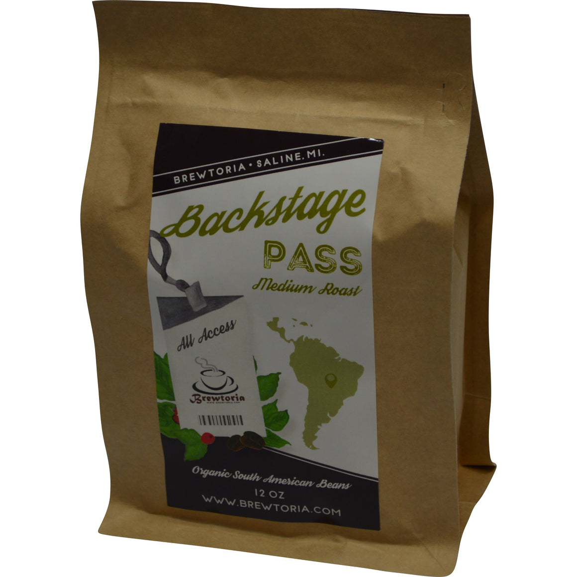 Backstage Pass - South American, Med Roast, Organic, 12 ounces