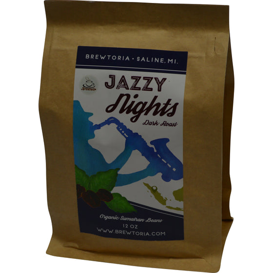 Jazzy Nights - Sumatran Dark Roast, Fair Trade, Organic, 12 ounces, FREE Shipping