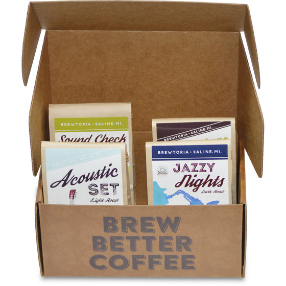 Whole Bean Sample Flight-4 Pack (2.5 oz x 4=10 oz) FREE Shipping